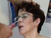 Pregnant mature gets cum on glasses